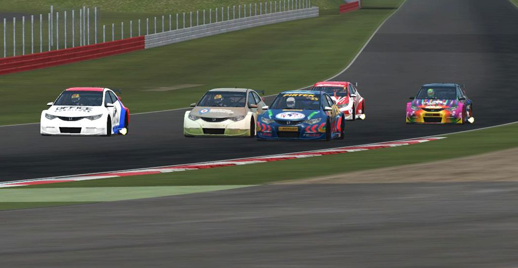 3-wide into Stowe, Morrison on the inside of D. Savage and Lungren. Chaos followed...
